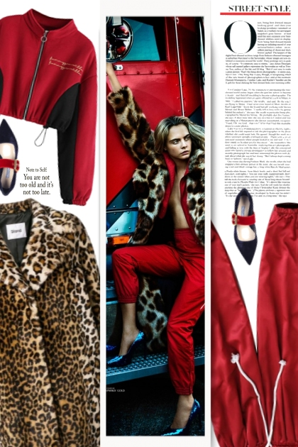 Cara Delevingne - red and leopard print