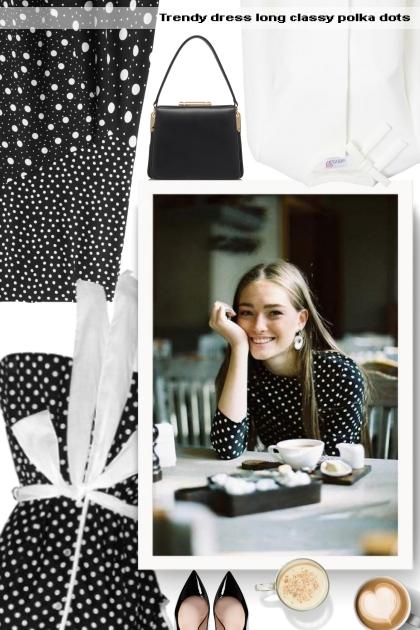 Trendy dress long classy polka dots