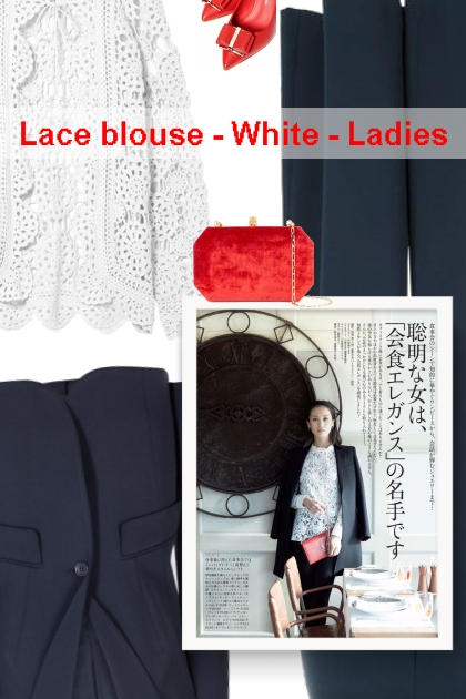 Lace blouse - White - Ladies