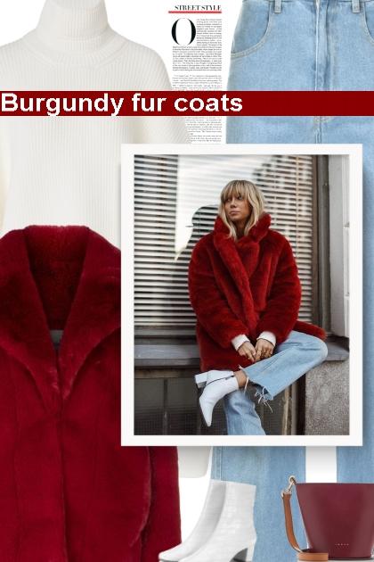 Burgundy fur coats