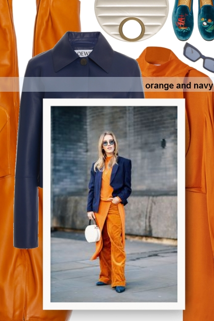 orange and navy- Modna kombinacija