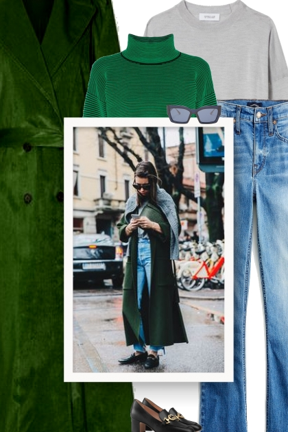 Looking for a stylish way to wear a green jacket?- Combinaciónde moda