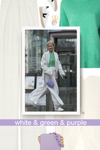 Business party - white & green & purple- コーディネート