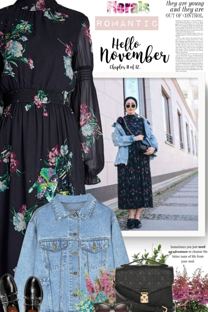 Floral dress  and denim jacket- Fashion set