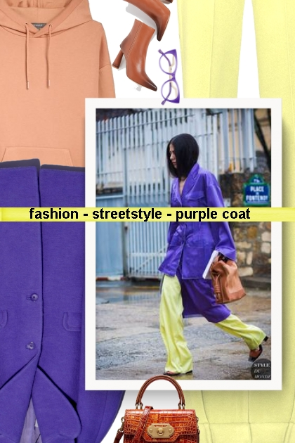fashion - streetstyle - purple coat - Fashion set
