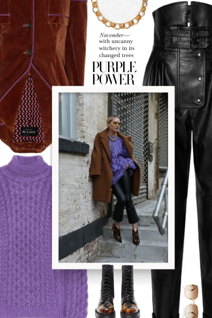 Street style - Purple Turtleneck Sweater