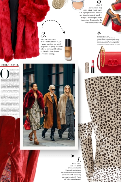 street style - red faux fur jacket