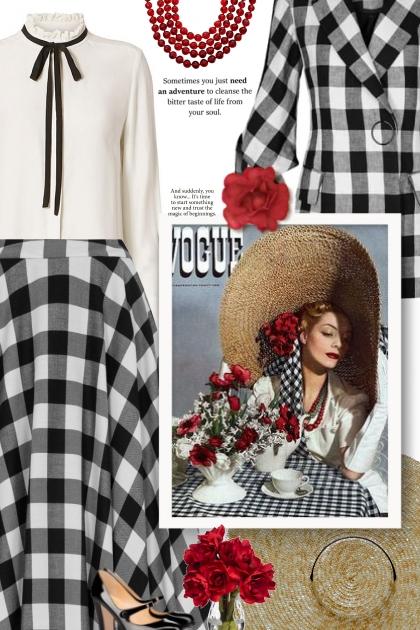 vintage style - gingham- Fashion set