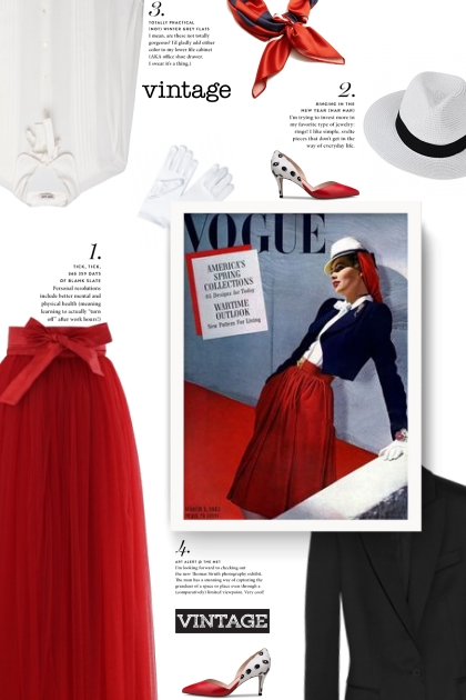 red, white, black - vitange style- Fashion set