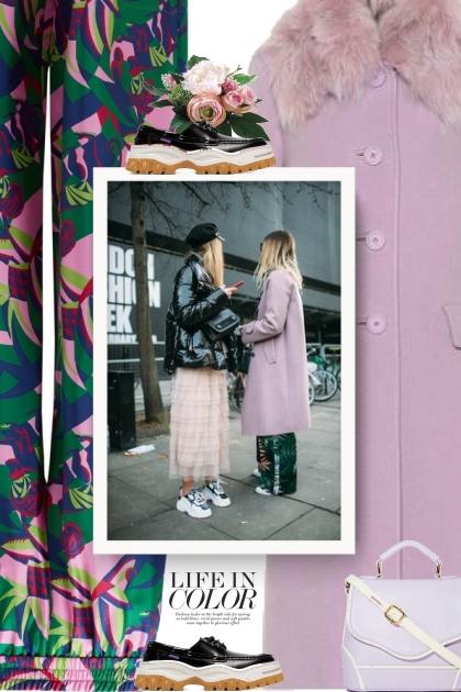 Printed Pants and Purple Coat