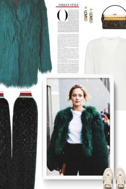 green fur coat- Fashion set