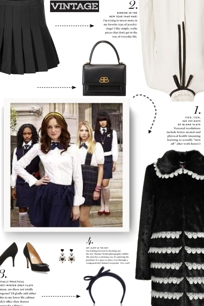Vintage style - black and white- Fashion set