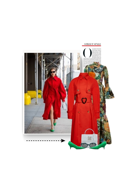 Classic Red Trench Coat- Modna kombinacija
