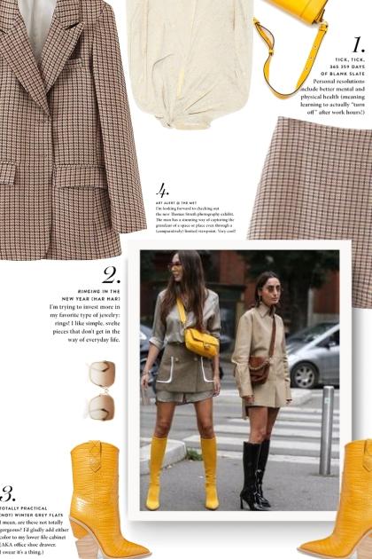 Yellow boots- combinação de moda