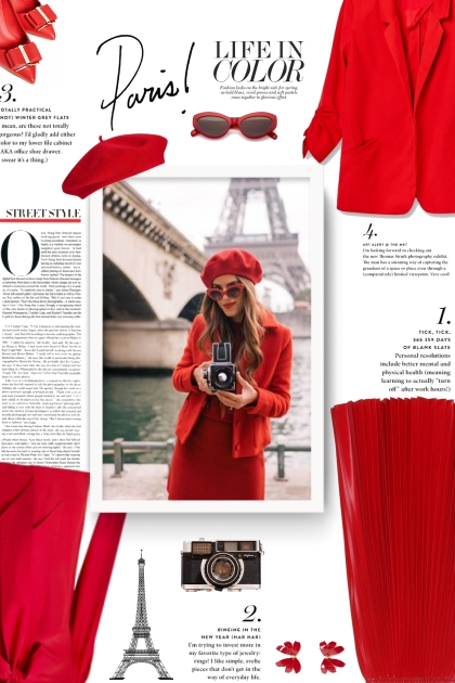 Street style all red - Paris- Modna kombinacija