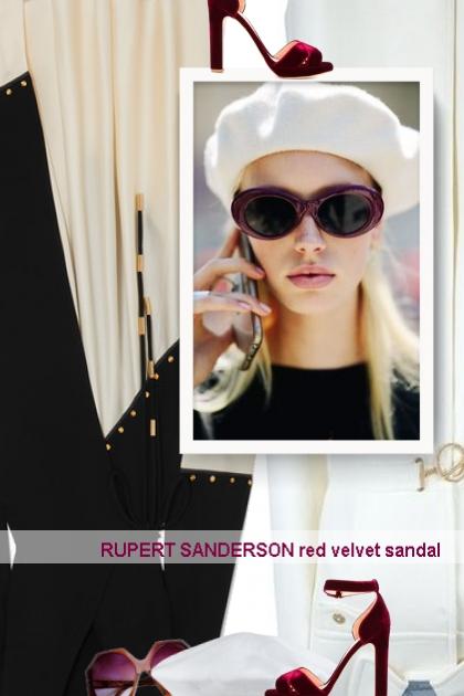 RUPERT SANDERSON red velvet sandal