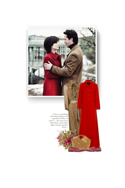 red wool blend maxi coat