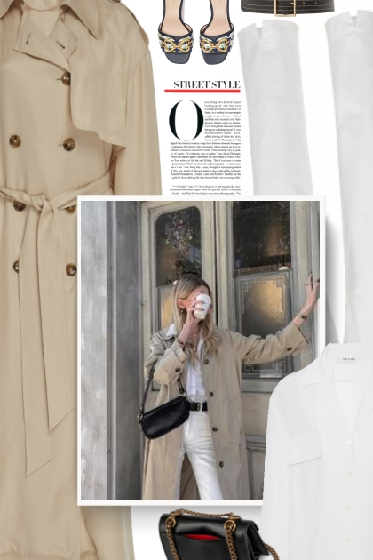 Double-Breasted Draped Trench Coat