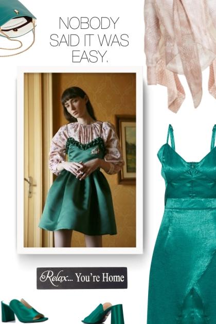 green strappy satin dress