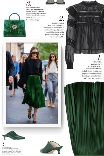 Green Pleated Skirt