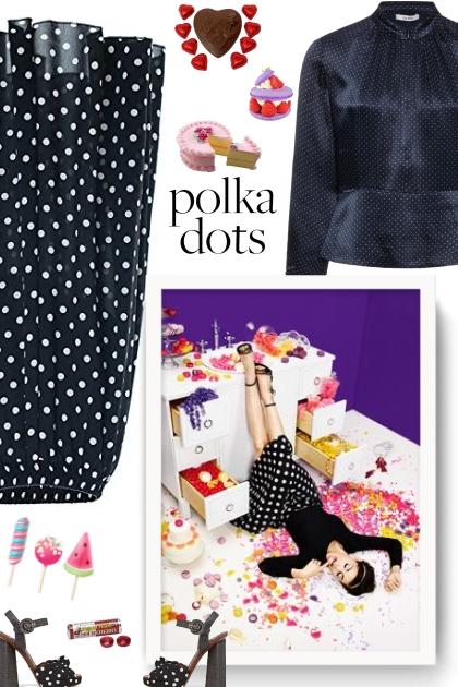 Chartou Women's Casual Contrast Polka Dot Chiffon - Fashion set