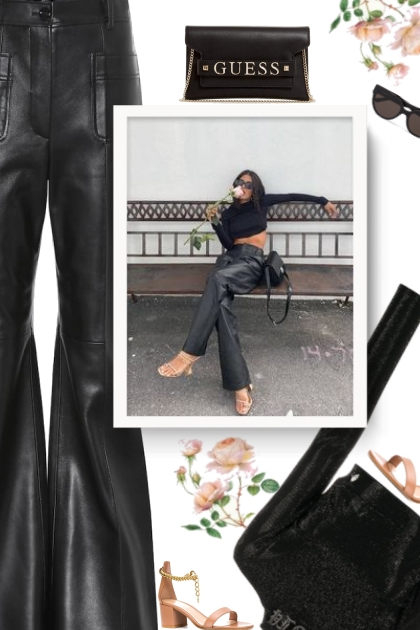 Flared-leather pants