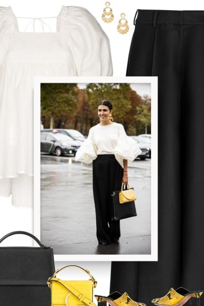 black, white and CHLOÉ yellow bag