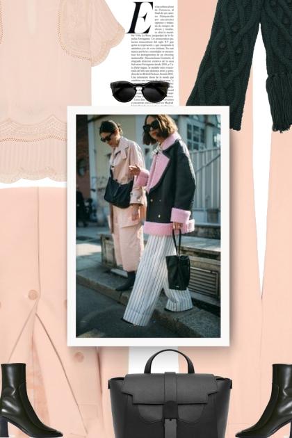 pink and black - autumn- Fashion set