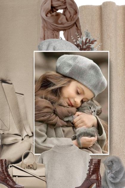 grey beret- Combinazione di moda
