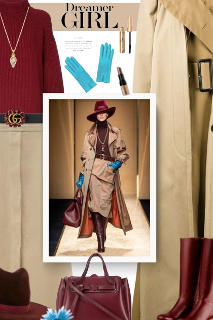 beige, burgundy and blue- Fashion set