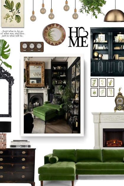 home decor  - black, white and green