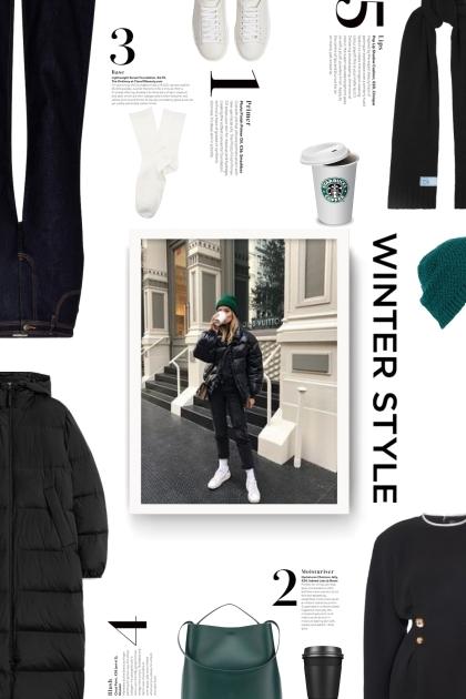 winter style -  black,white, green