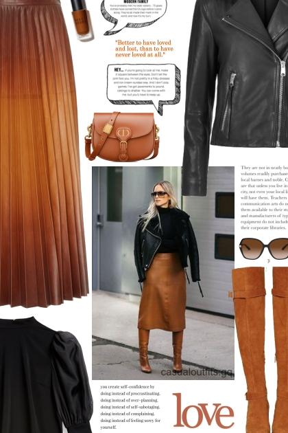 street style - GIVENCHY pleated leather skirt