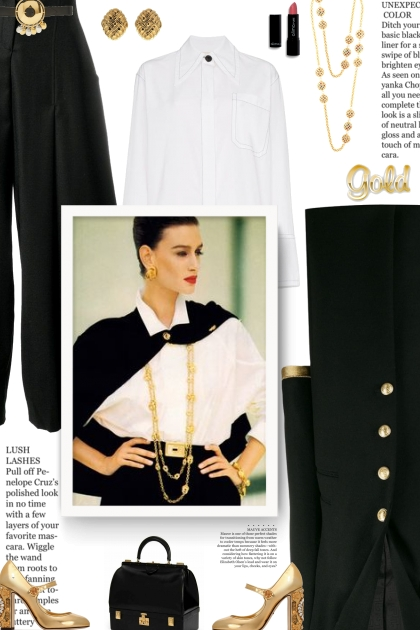 vintage style - white, black and gold