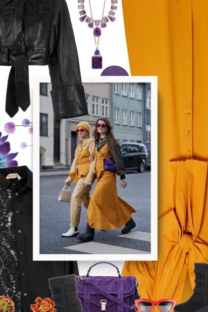 marigold, purple and black