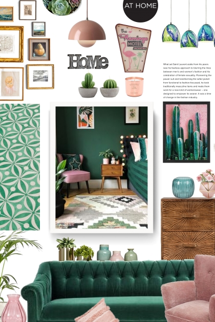 at home - green and pink- Fashion set