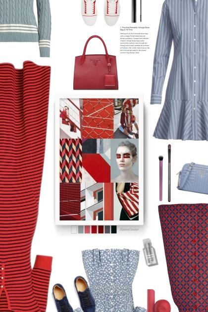 red/grey- combinação de moda