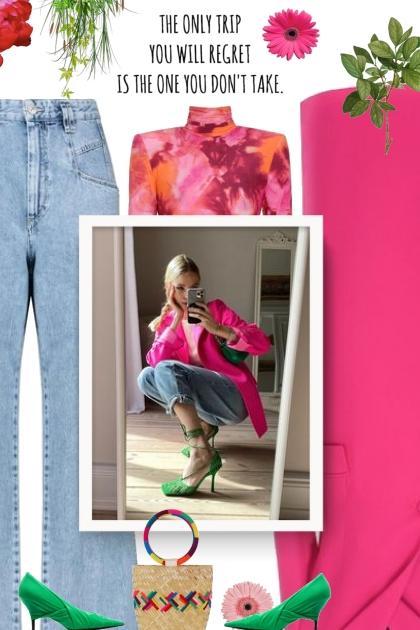 denim/pink/green