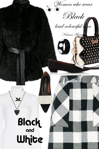 Black and White Check Skirt