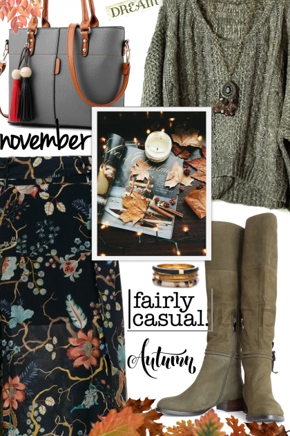 Fall Floral Skirt- Fashion set