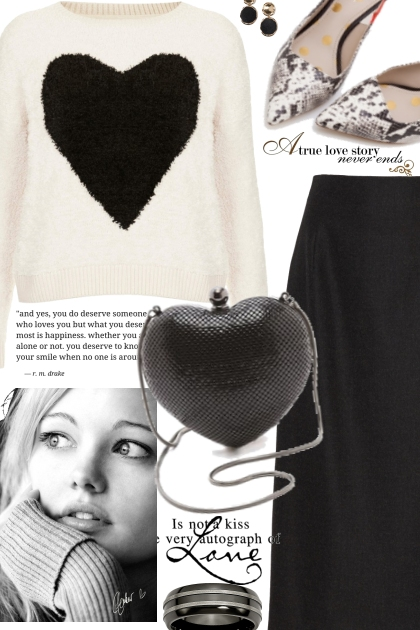 Black & White Heart Sweater