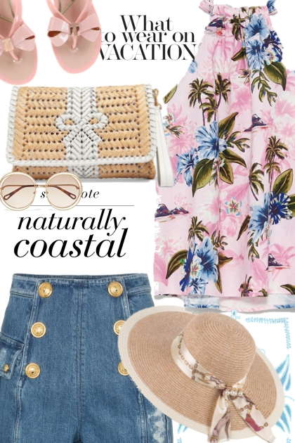 Tropical Pink and Blue Top