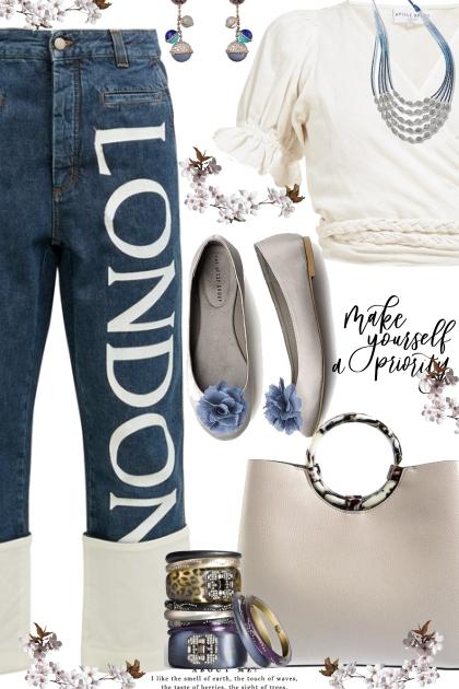 London- Cream and Blue