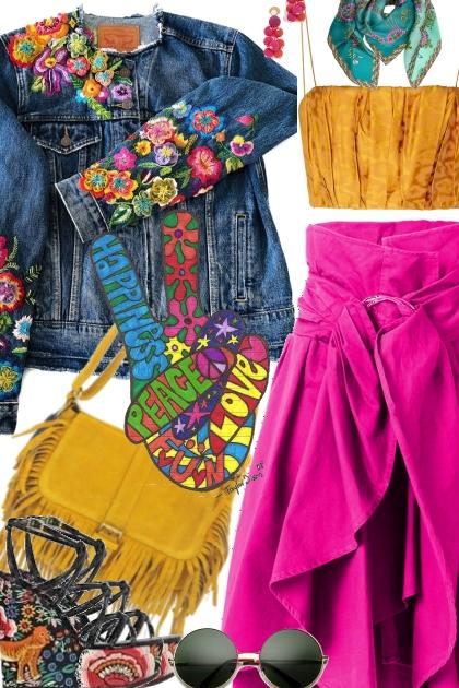 Floral Denim Embroidery  Jacket