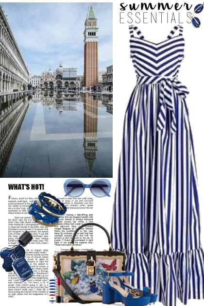 Stripe Maxi-Blue and White