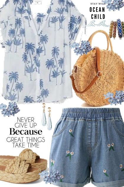 H&M Palm Tree Blouse