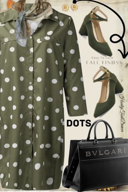 Olive Green Polka Dot Dress