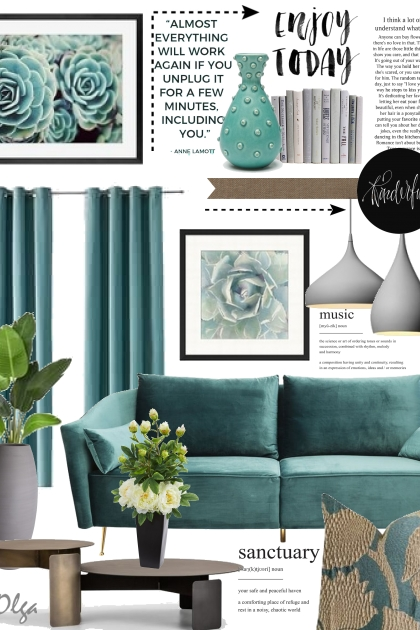 Interior design in petrol green