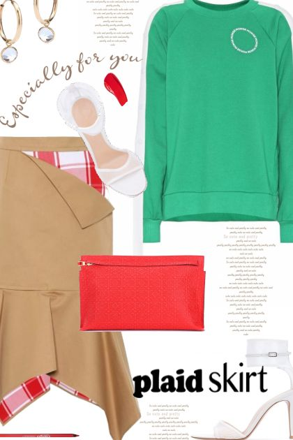 - plaid skirt