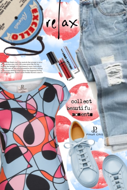 Multi Colored Hand Drawn Print Tee- Fashion set